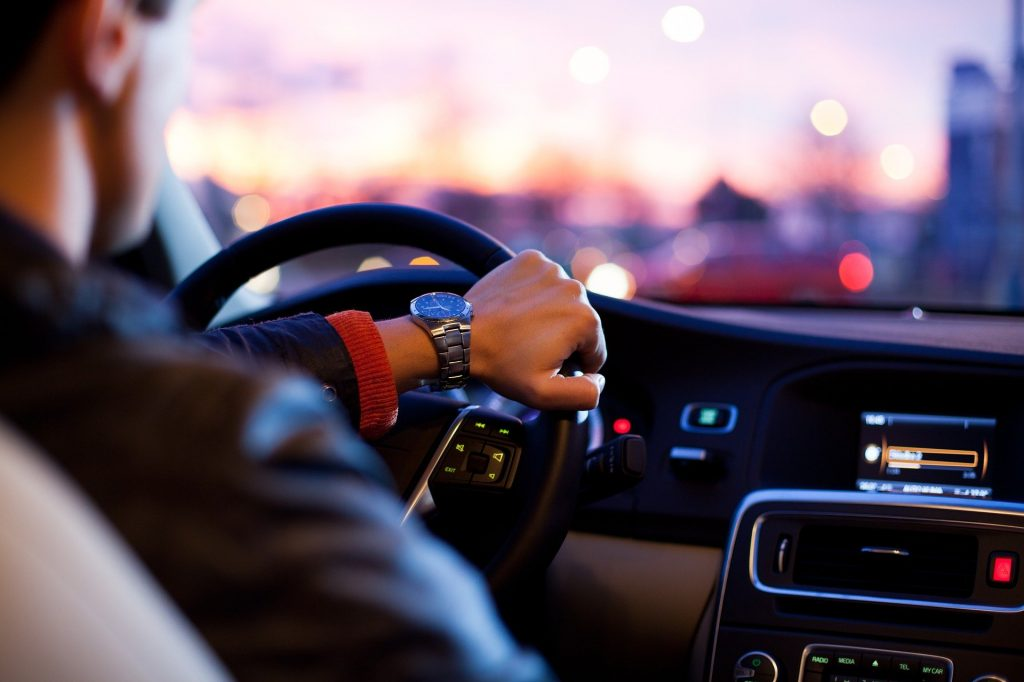 A picture of a man driving