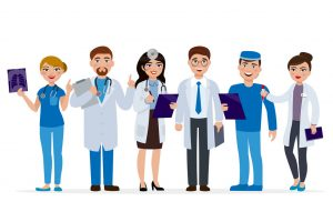 Medical staff cartoon characters vector flat illustration. Set of doctors isolated on white background. Medical team of cute people, group of hospital workers smiling and standing together.